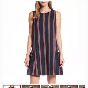Halogen striped shift dress with ruffle